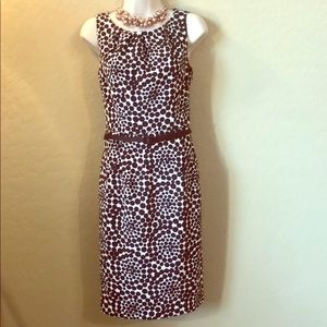 London Times Brown and White Dress Size 4
